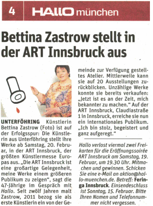 Bettina  Zastrow stellt in der  ART Innsbruck aus